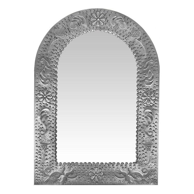 Large Arch Engraved Tin Mirror - Natural Finish