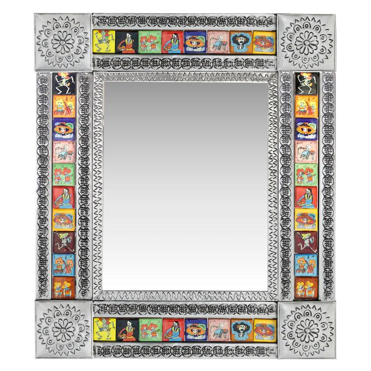 Small Talavera Tile Mirror - Day of the Dead - Natural Finish