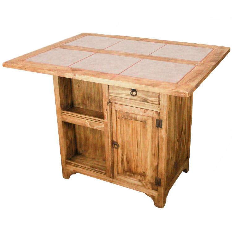 Mexican Rustic Pine Morelia Kitchen Island with Tile Top