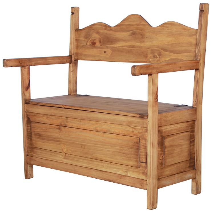 Rustic Pine Storage Bench Product Photo
