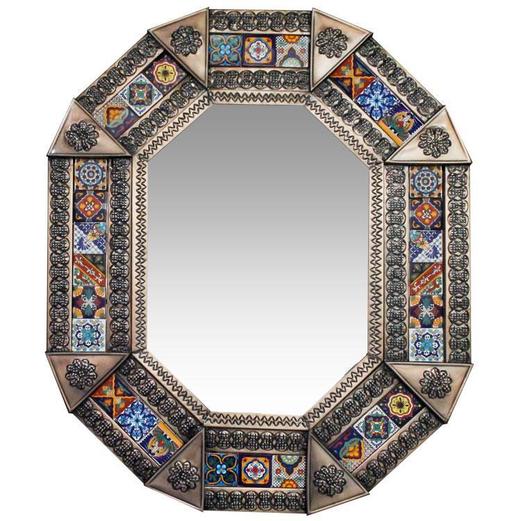 Small Octagonal Talavera Tile Mirror - Oxidized Finish