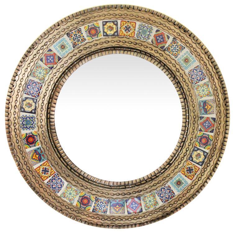Round Tile Mirror Oxidized Product Photo