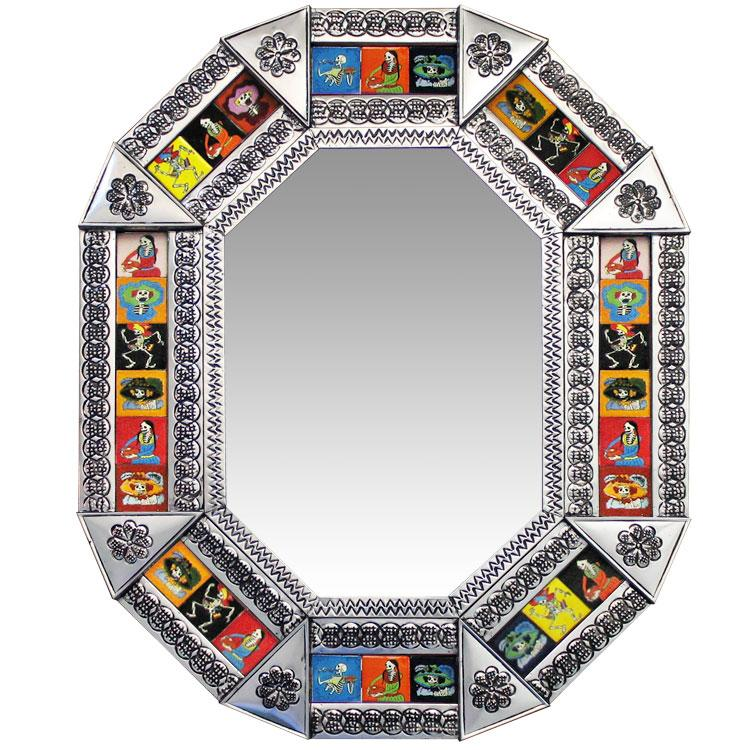 Small Octagonal Talavera Tile Mirror - Day of the Dead - Natural Finish