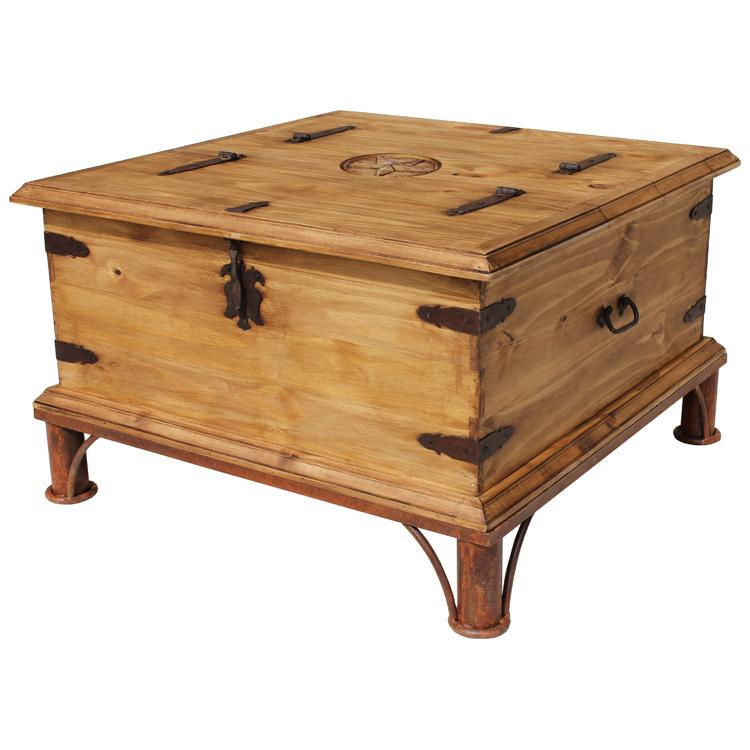 Mexican Rustic Pine Star Trunk Coffee Table with Simple Iron Base