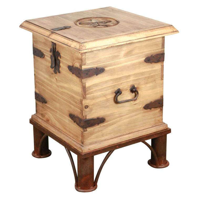 Rustic Pine End Table Trunk Iron Base Product Photo