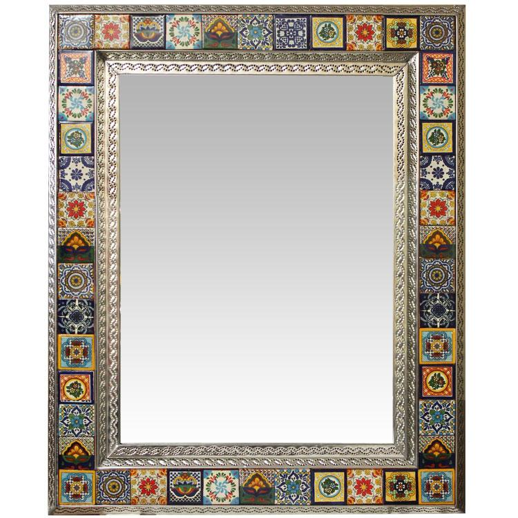 Large Talavera Tile Mirror - Natural Finish