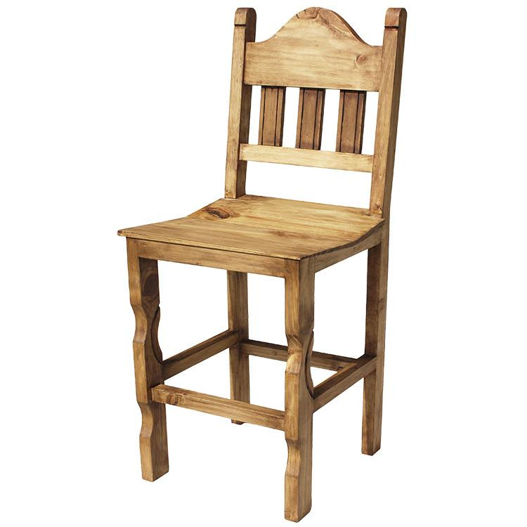 Mexican Rustic Pine Short Pueblo Bar Stool