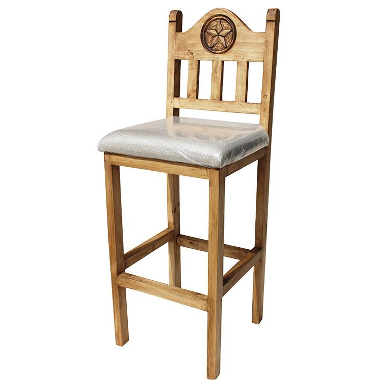 Mexican Rustic Pine Tall Lone Star Bar Stool with Cushion