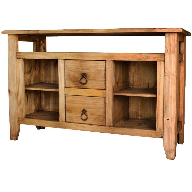 Mexican Rustic Pine San Marcos Console Table with Two Drawers