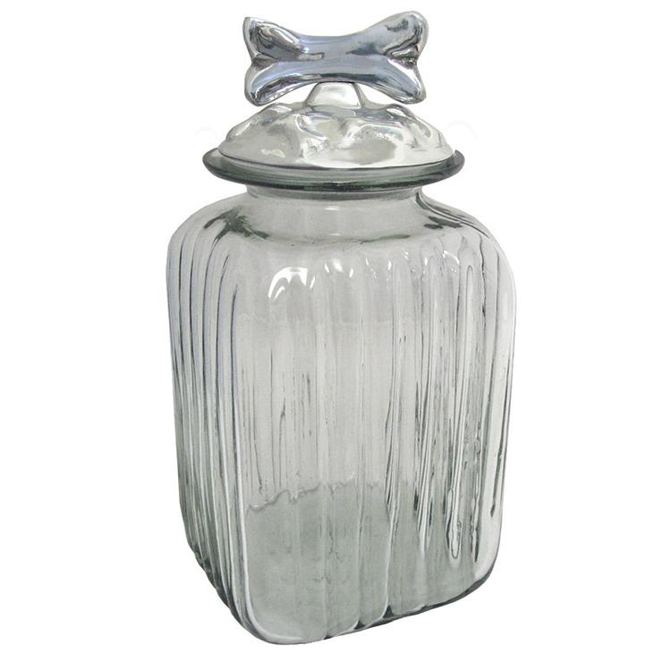 Small Dog Bone Kitchen Canister with Amber Glass