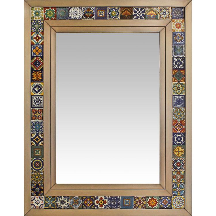Large Talavera Tile Mirror - Oxidized Finish