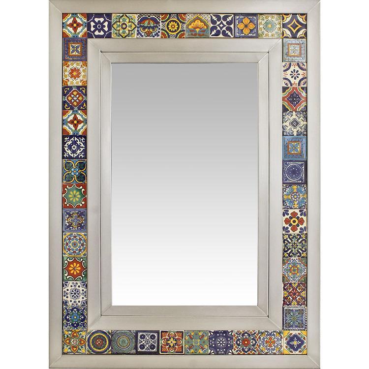 Medium Talavera Tile Mirror - Natural Finish