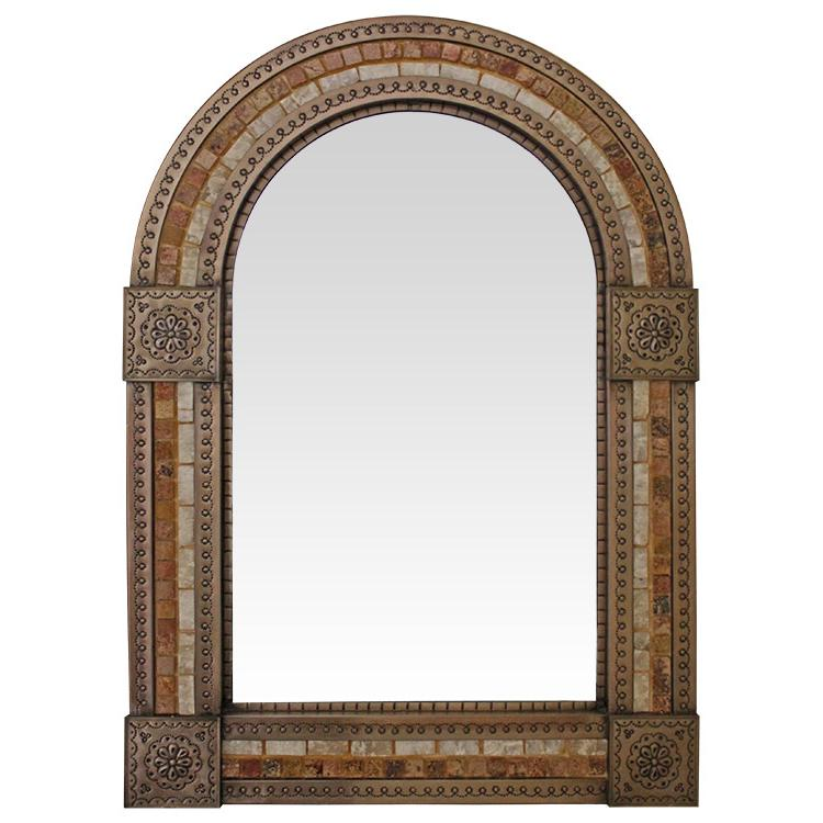 Large Arched Tin & Stone Mirror - Copper Finish
