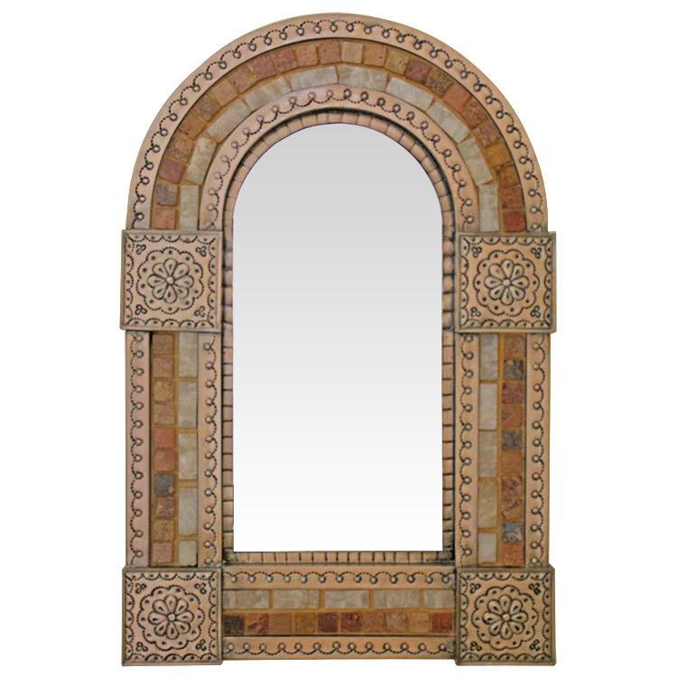 Small Arched Tin & Stone Mirror - Copper Finish