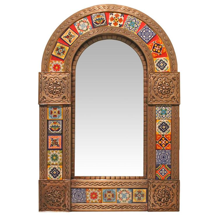Small Arched Talavera Tile Mirror - Oxidized Finish