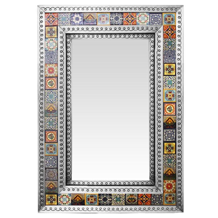 Small Talavera Tile Mirror - Natural Finish
