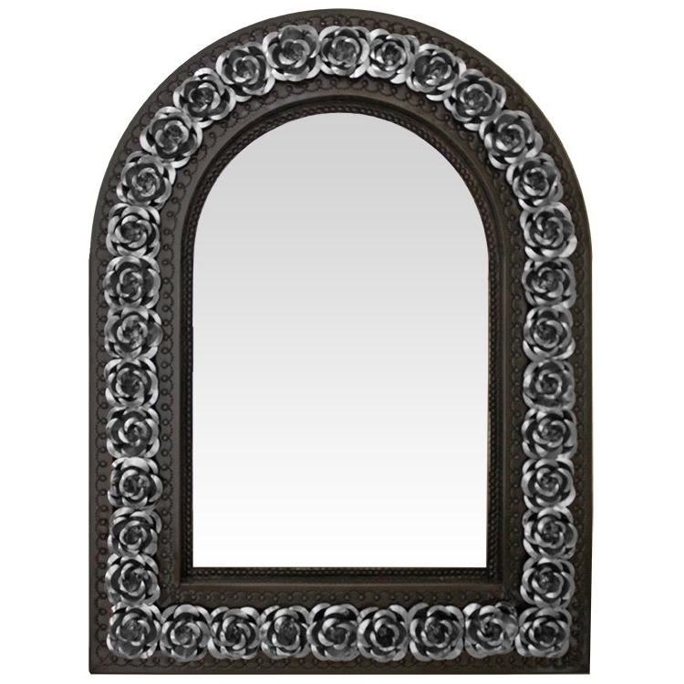 Small Arched Rose Tin Mirror - Mixed Finish