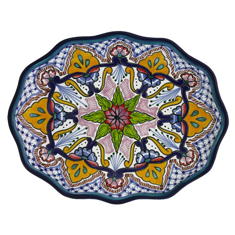 Waved Oval Talavera Platter