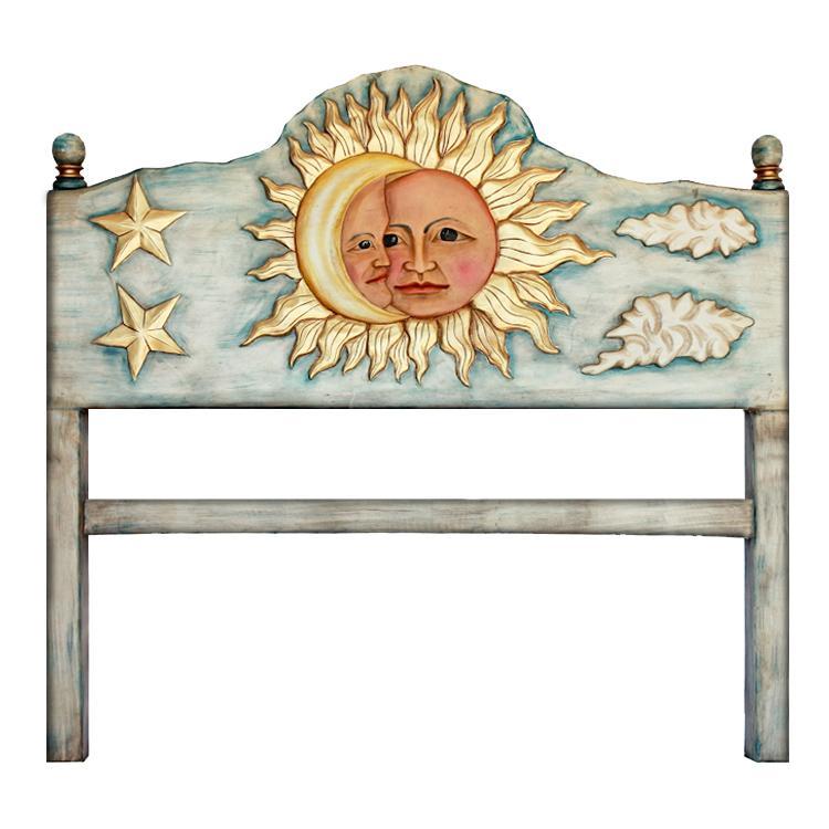 King Carved Headboard Sun Moon Product Photo