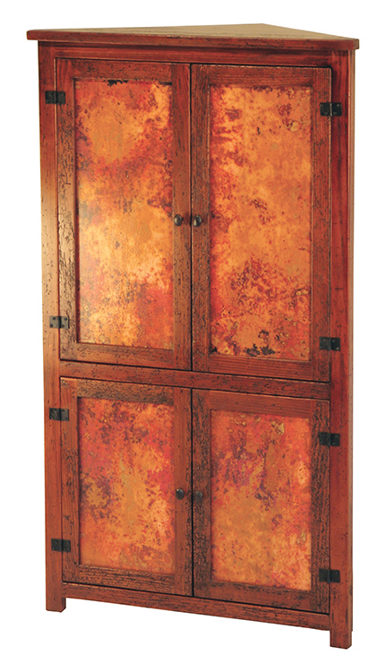 Copper Corner Cabinet with Antique Dark Red Finish