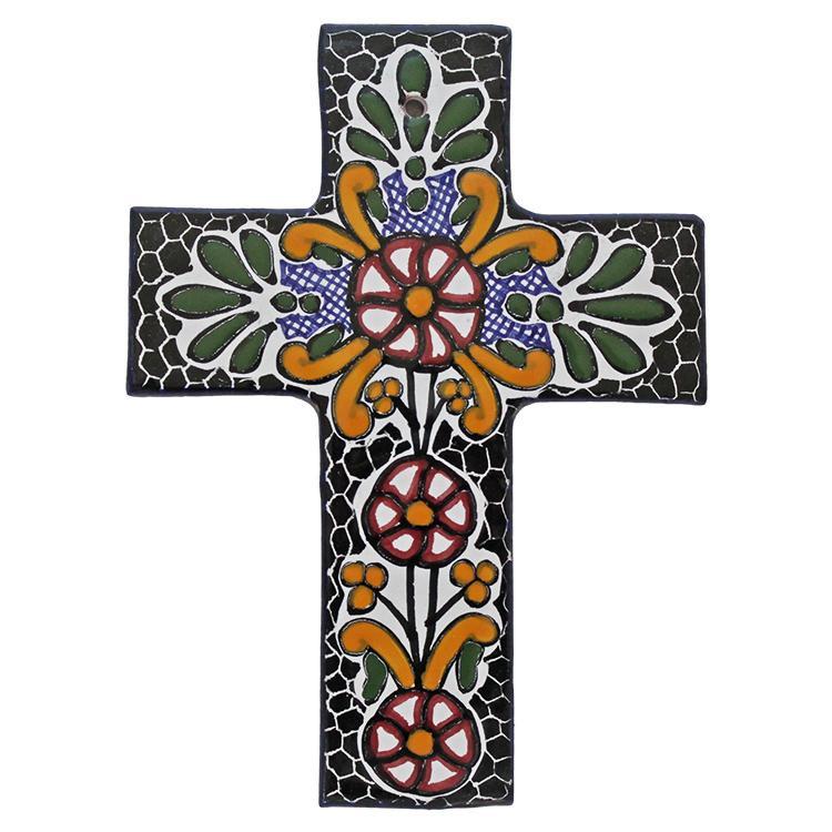 Hand-Painted Talavera Cross by Tomas Huerta