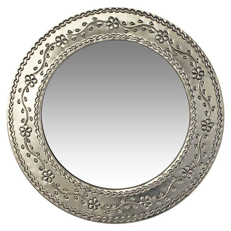 Round Tin Mirror - Natural Finish