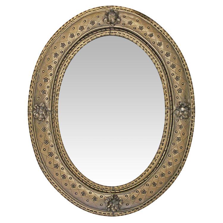 Oval Flower Tin Mirror Oxidized Product Photo