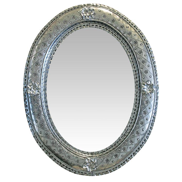 Oval Flower Tin Mirror Natural Product Photo