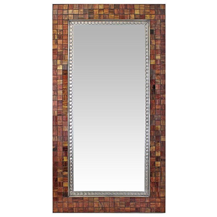 Large Glass Tile Mirror - Brown & Tan Glass Tiles