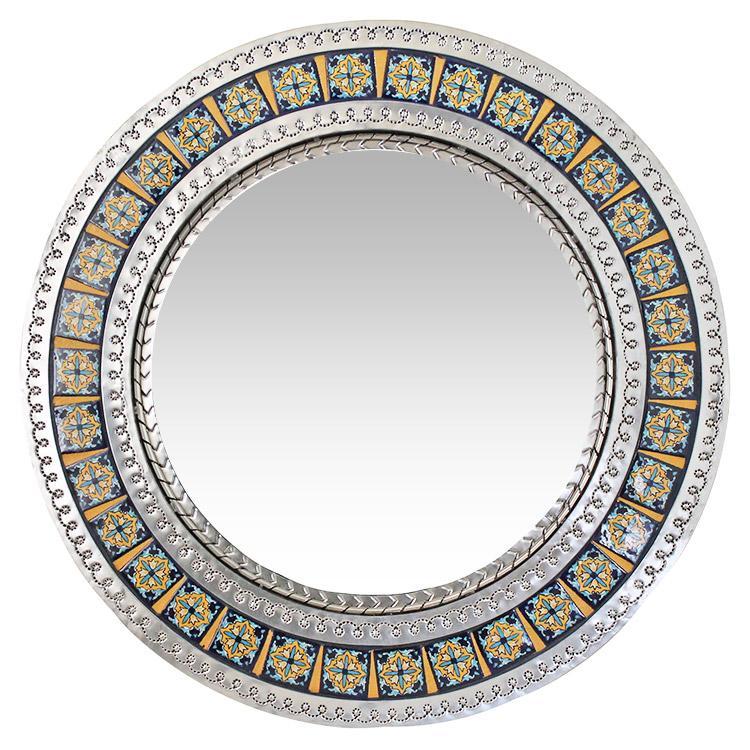 Small Round Talavera Tile Mirror - Natural Finish