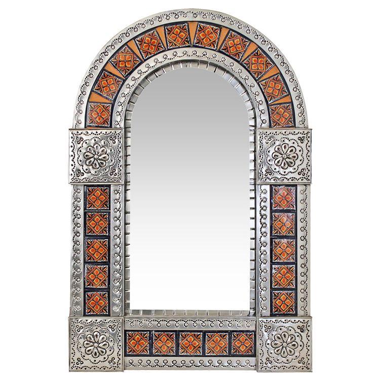 Small Arched Talavera Tile Mirror - Natural Finish