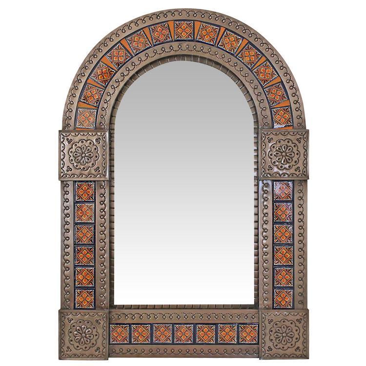 Medium Arched Talavera Tile Mirror - Oxidized Finish