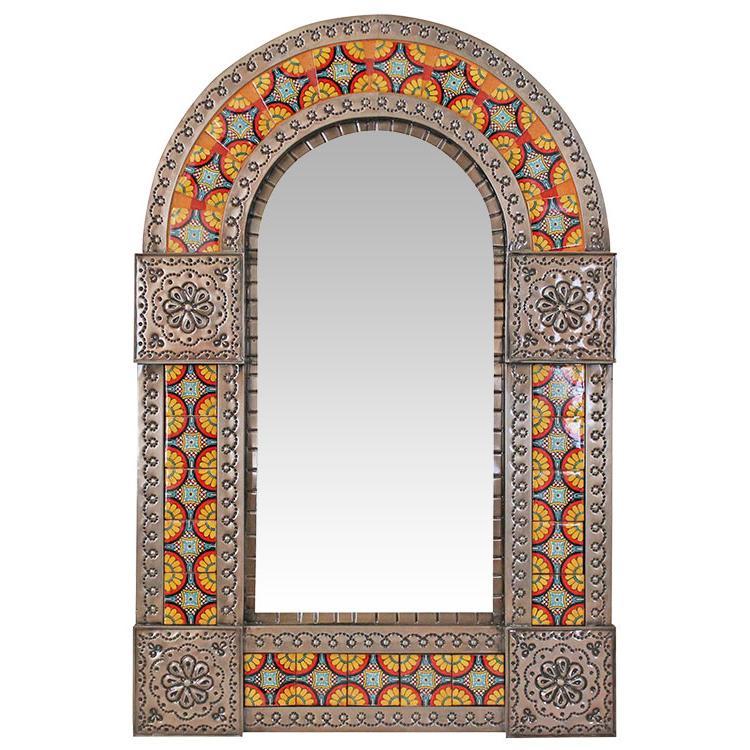 Small Arched Talavera Tile Mirror - Oxidized Finish