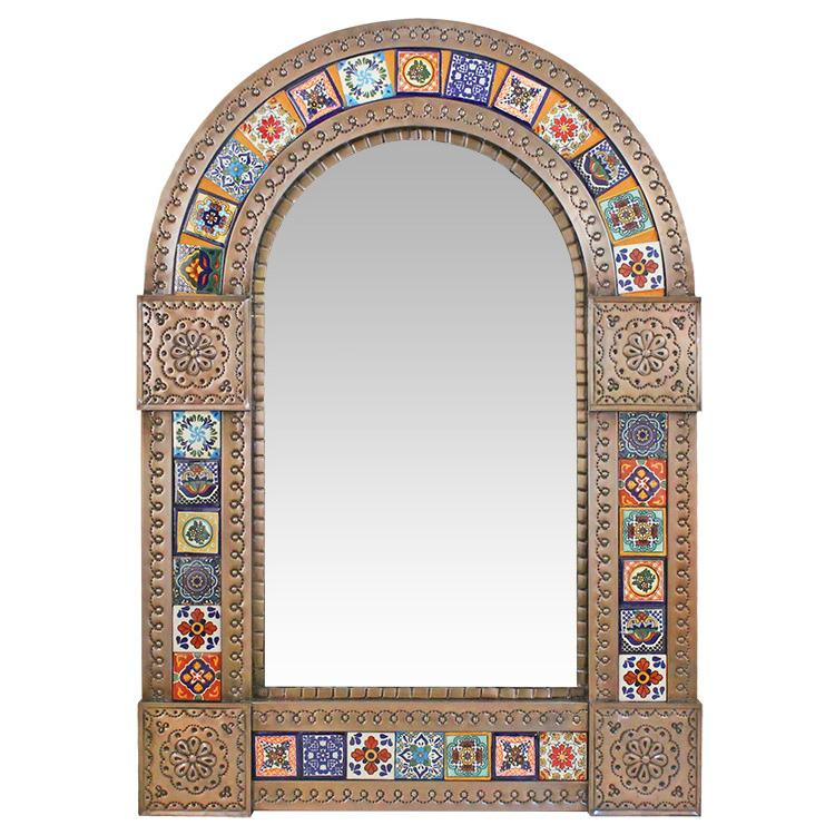 Medium Arched Talavera Tile Mirror - Oxidized Finish