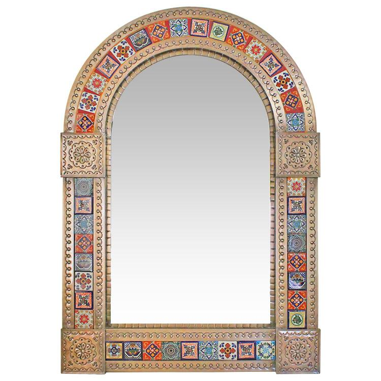Large Arched Talavera Tile Mirror - Oxidized Finish