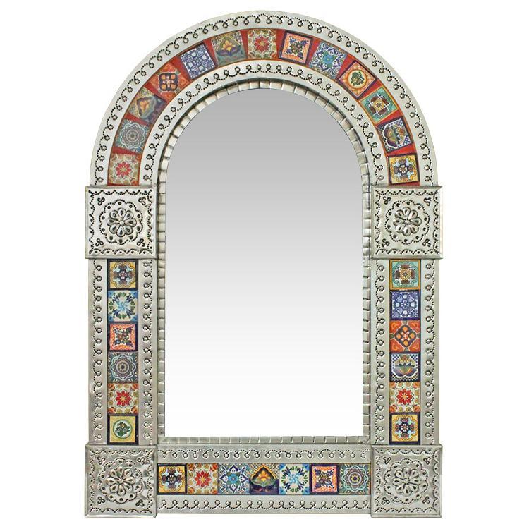 Medium Arched Talavera Tile Mirror - Natural Finish