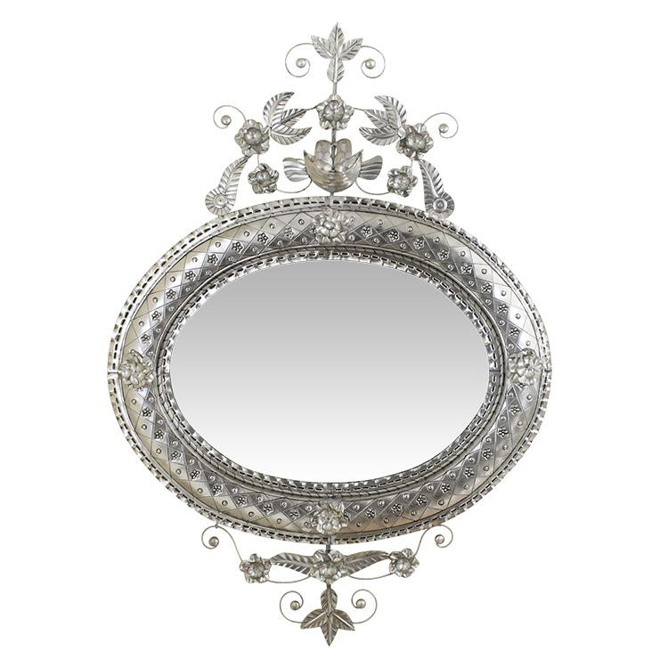 Oval Nest Tin Mirror - Natural Finish