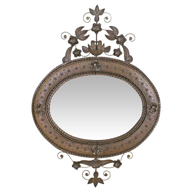 Oval Nest Tin Mirror - Oxidized Finish