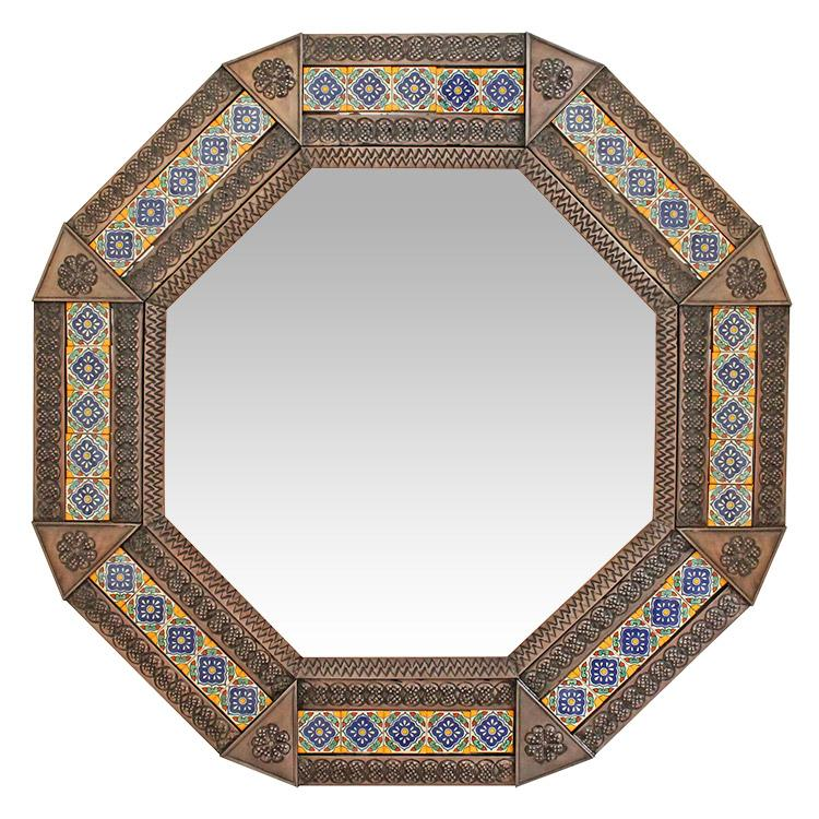 Octagonal Tile Mirror Oxidized Product Photo