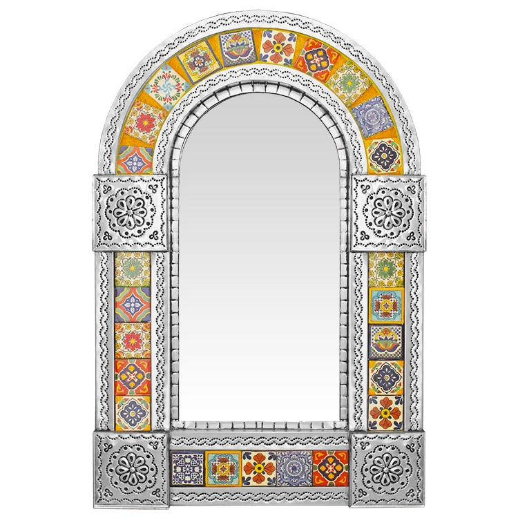 Small Arched Talavera Tile Mirror - Natural Finish