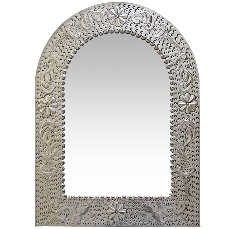 Small Arch Engraved Tin Mirror - Natural Finish