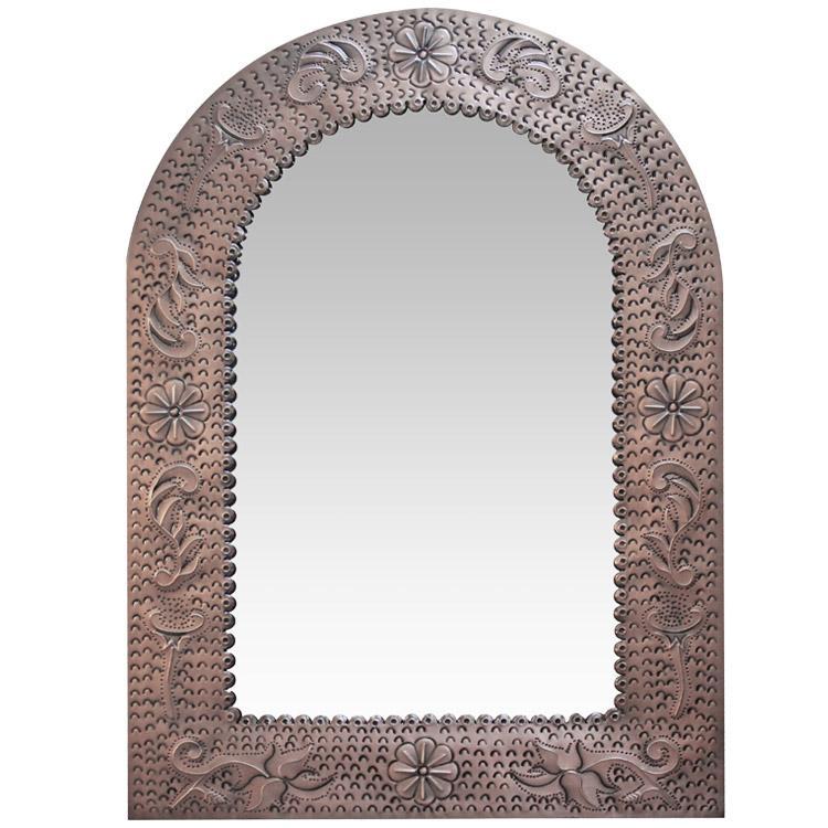 Small Arch Engraved Tin Mirror - Oxidized Finish