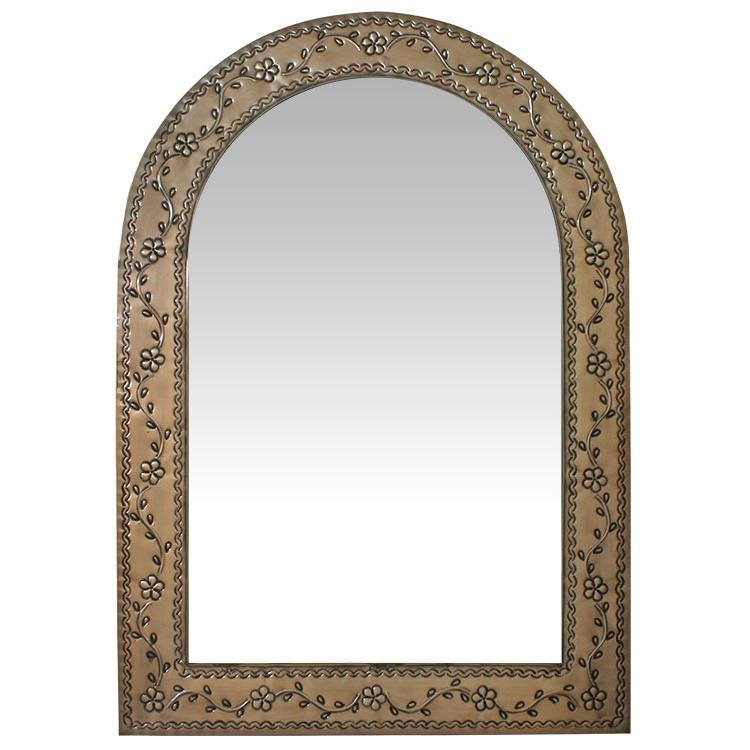 Large Arched Tin Mirror - Oxidized Finish