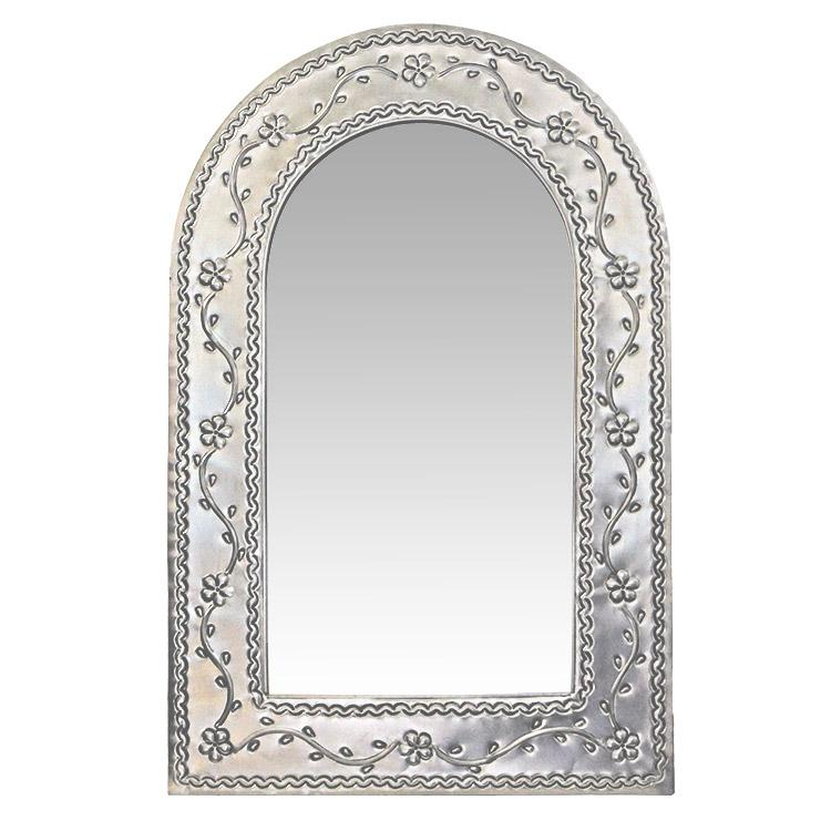 Small Arched Tin Mirror - Natural Finish
