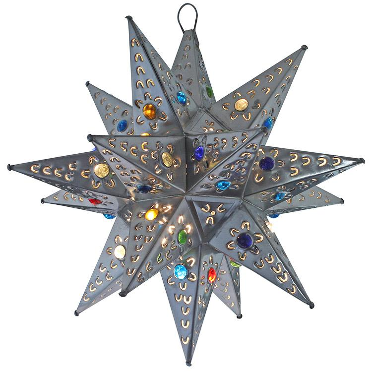 Small Mexican Tin Petalos Star with Marbles: with Natural Finish