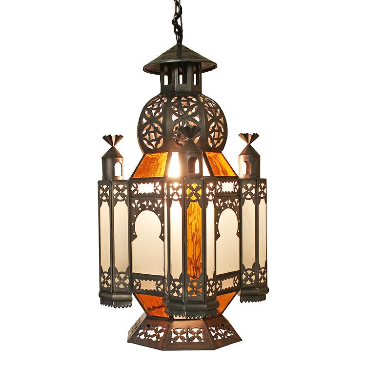 Mexican Tin Morocco Lantern w/Frosted Glass