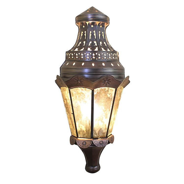 Mexican Tin Sofia Wall Sconce with Antiqued Glass