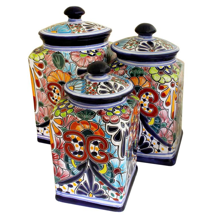 Talavera Canister Set Hand Painted Kitchen Canisters