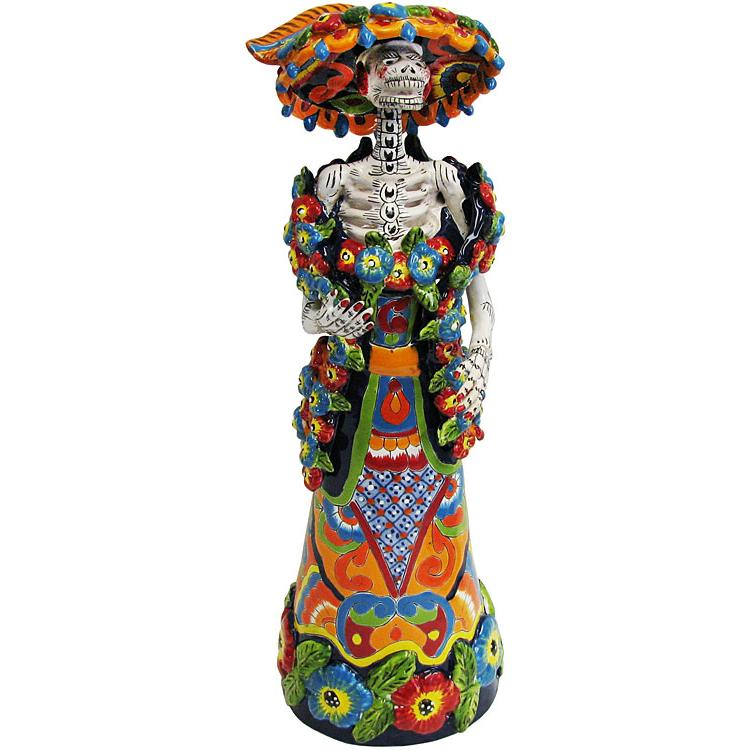 Large Talavera Catrina with Shawl in Traditional Dress
