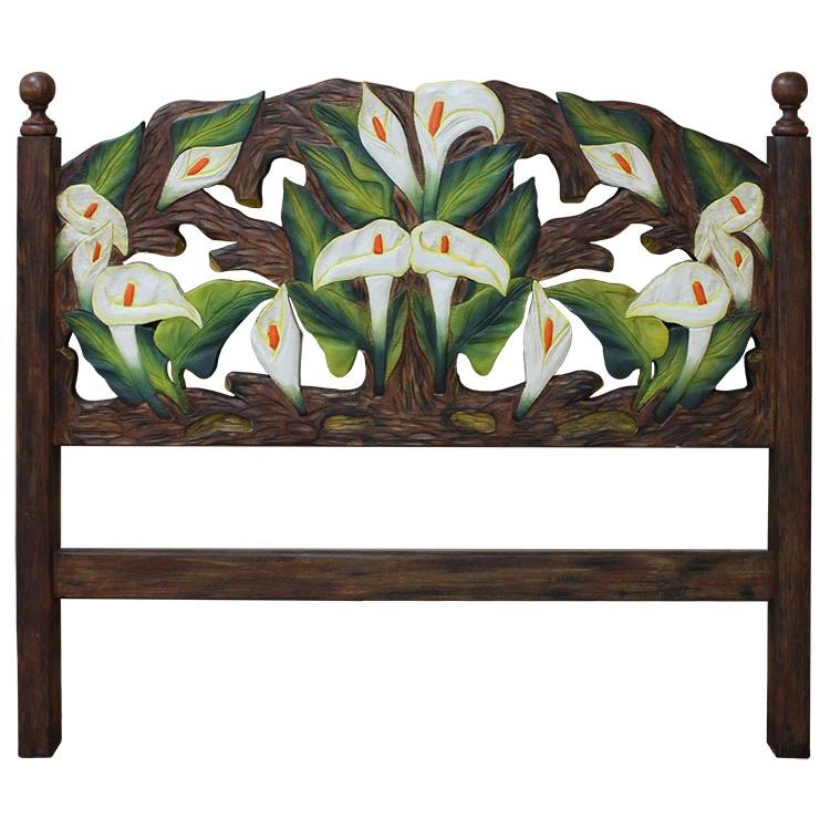 Queen Carved Headboard Calla Lilies Product Photo